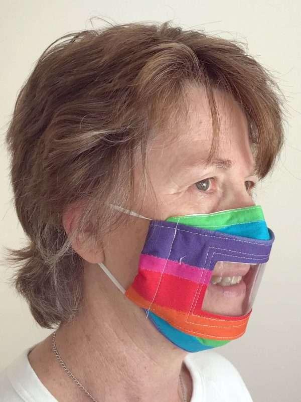 Rainbow Window Face Mask Side
